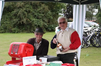 Big John & KP on the Village Hall Tombola Stall